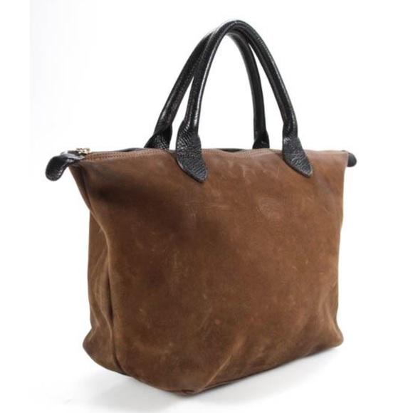 1ccf7249c Longchamp Handbags - LongChamp Brown Suede Leather Vintage Tote